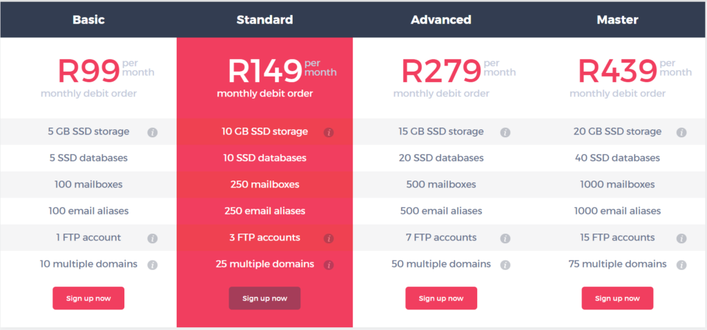 xneelo web hosting prices in south africa